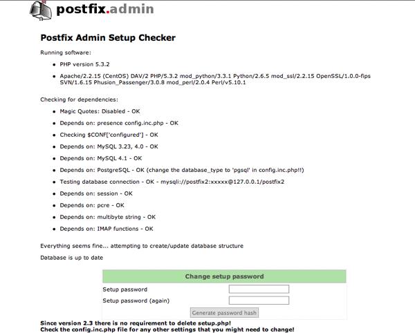 Postfix Admin setup