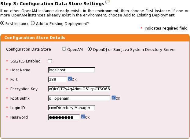 Konfigurace OpenAM datastore.
