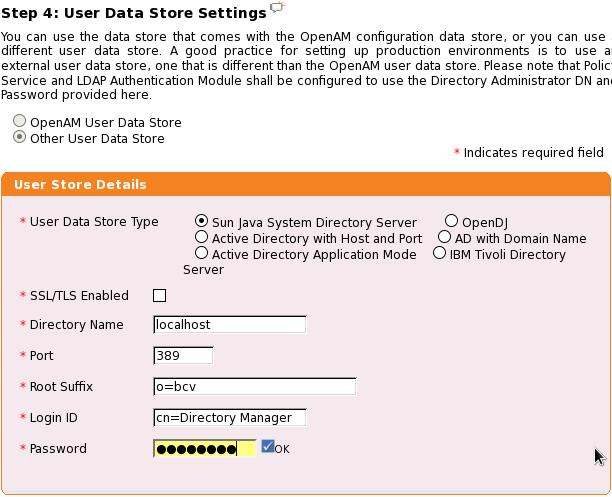 Konfigurace datastore uživatelů.