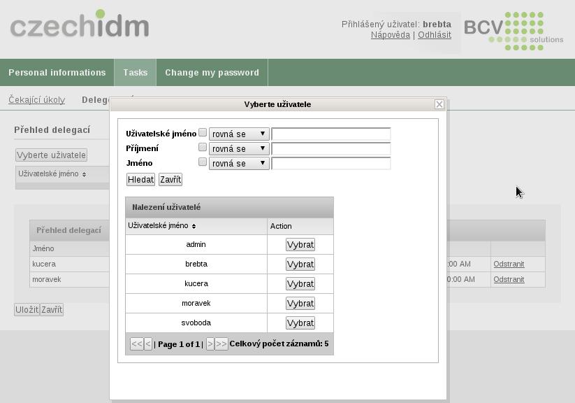 Formulář pro úpravu delegací - výběr uživatele