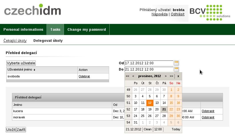 Formulář pro úpravu delegací - výběr časového rozmezí